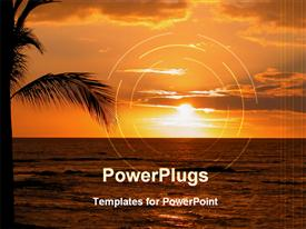 PowerPoint template displaying beautiful Sunset at the Big Island of Hawaii in the background.