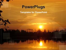 PowerPoint template displaying beautiful sunset view in the background.