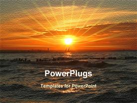 PowerPoint template displaying beautiful vibrant sunset at the end of a hot summer day in the background.