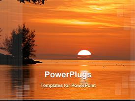 PowerPoint template displaying beautiful view of sunset in the background.