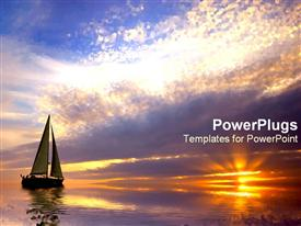 PowerPoint template displaying effervescently colorful sunset and sailboat in the background.