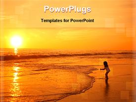 PowerPoint template displaying girl playing in the sea coast at the sunset time in the background.