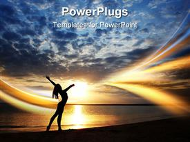 PowerPoint template displaying lady doing exercise at the beach during sunset. Vivid colors and natural darkness in the background.
