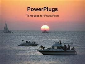 PowerPoint template displaying nice and famous Ibiza sunset in the background.
