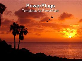PowerPoint template displaying palm trees on beach at sunset with three birds flying across the sky