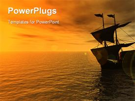 PowerPoint template displaying sailing ship in the sunset - 3D in the background.