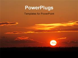 PowerPoint template displaying setting sun over the land with some clouds in the background.