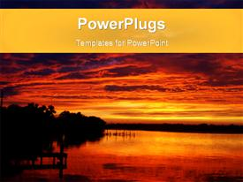 PowerPoint template displaying fiery orange clouds at sunrise over seashore