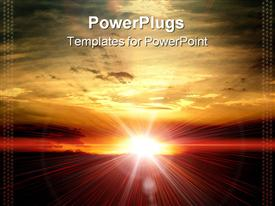 PowerPoint template displaying sun in evening in the background.
