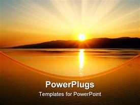 PowerPoint template displaying beautiful scenery of sunset over the mountains in the background and Baltic sea depiction