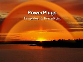 PowerPoint template displaying a cool evening sunset view of a river and the sun