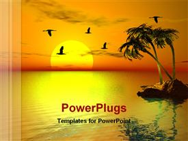 PowerPoint template displaying sun set view small island surrounding river birds flying