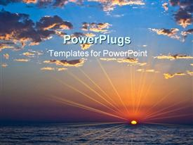 PowerPoint template displaying sunset with beautiful clouds and sea in the background.