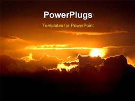 PowerPoint template displaying sunset, gorgeous depiction of golden cloud light in the background.