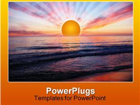 PowerPoint template displaying sunset at Orre beach in Norway in the background.