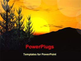 PowerPoint template displaying sunset view in hilly region in the background.