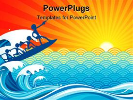 PowerPoint template displaying blue humans riding waves on surf board, abstract background with sun, surfing