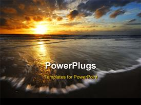 Beautiful sunset and waves on the beach template for powerpoint