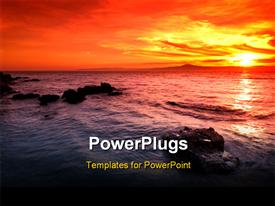 PowerPoint template displaying depiction of an amazing sunset over a rocky seascape in southern Greece in the background.