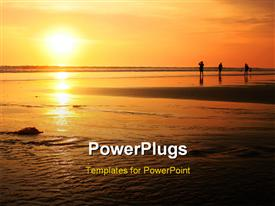 PowerPoint template displaying beautiful sun set in Bali beach