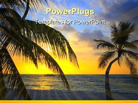 PowerPoint template displaying nice Sunset in the Indian Ocean with palm trees in the background.
