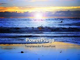 PowerPoint template displaying sunset at California beach in the background.