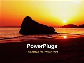PowerPoint template displaying great sunset colors in the evening in the background.