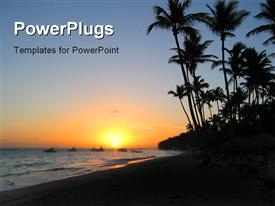 Sunset in a Caribbean beach powerpoint theme