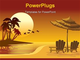 PowerPoint template displaying summer landscape: sunset beach chairs and umbrella