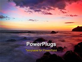 PowerPoint template displaying a sea wih a number of rocks and sunset in background
