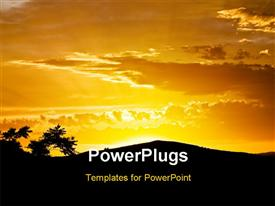 PowerPoint template displaying fiery sunset with particular reflections of the sun in the background.