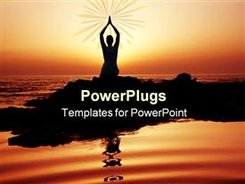 PowerPoint template displaying woman doing yoga at sunset on the seashore