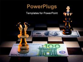 PowerPoint template displaying euro attacks dollar. Chessboard-it a symbol of material space