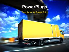 PowerPoint template displaying speed yellow delivery truck on road or highway in the background.