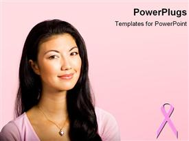 PowerPoint template displaying pretty woman smiling on a pink background with breast cancer symbol