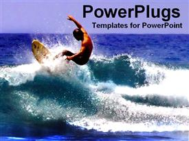 PowerPoint template displaying man surfing on a rough ocean wave of a blue sea