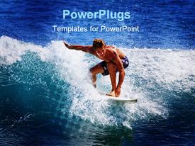 Young man catches a wave on his surfboard at Point Panic Oahu Hawaii powerpoint template