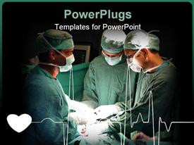 PowerPoint template displaying three doctors performing surgery patient beating heart ad cardiogram heart line hospital setting black background