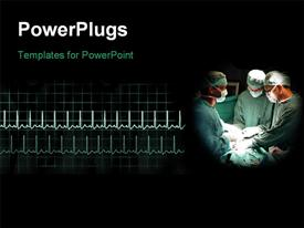 PowerPoint template displaying surgeons and healthcare pulses in the background.