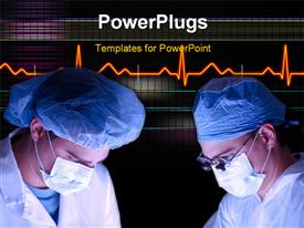 PowerPoint template displaying surgeon and nurse working together as a team