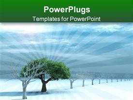PowerPoint template displaying tree with a green foliage in surroundings naked trees on to snow on a background cloudy sky in the background.