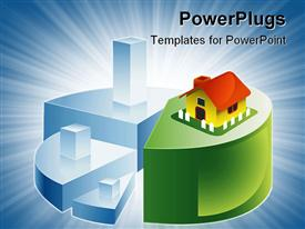 PowerPoint template displaying vector depiction of depicting savings leading to a sweet home in the background.