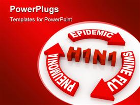 PowerPoint template displaying swine flu concept computer generated depiction for special design in the background.