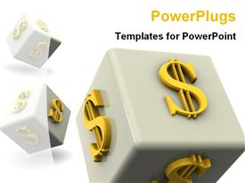 PowerPoint template displaying dollars on dice
