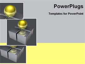 Golden ball on four squares powerpoint template
