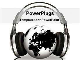 Headphone on a globe powerpoint design layout
