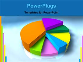 PowerPoint template displaying pie graph with different colored segments in the background.