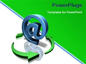 Sign at with a green arrow turning it powerpoint template