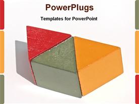 PowerPoint template displaying three red, orande and grey colored triangles joined together