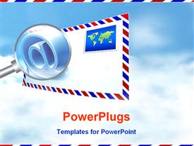 PowerPoint template displaying classic envelope with stamp and magnifying glass showing the @ symbol on sky background